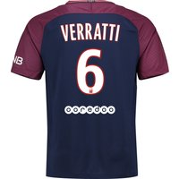 Paris Saint-Germain Home Stadium Shirt 2017-18 with Verratti 6 printing
