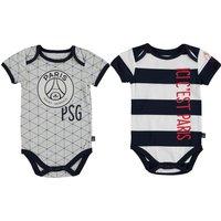 Paris Saint-Germain 2PK Bodysuits - Grey/White/Navy - Baby