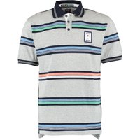 RBS Six Nations Classic Striped Jersey Polo Shirt - Grey Marl