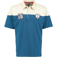 RBS Six Nations Heritage Short Sleeved Col Blocked Rugby Shirt - Washed Blue
