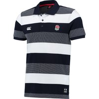 England Rugby Textured Stripe Pique Polo Navy