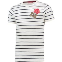 England Rugby 1871 Rose Stripe T-Shirt Cream