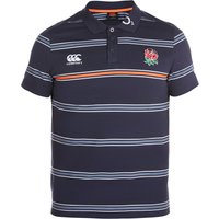 England Rugby Cotton Stripe Polo - Graphite, Black