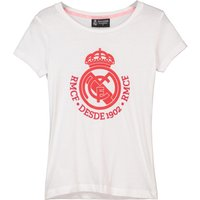 Real Madrid Wide Neck Crest T-Shirt - White - Girls