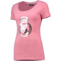 Real Madrid Metallic Printed Crest T-Shirt - Pink - Womens
