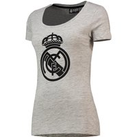 Real Madrid Textured Print Crest T-Shirt - Grey - Womens