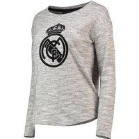 Real Madrid Oversized Crest Print Sweatshirt - Grey - Womens