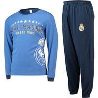 Real Madrid Long Sleeve Crest Pyjamas - Blue - Mens