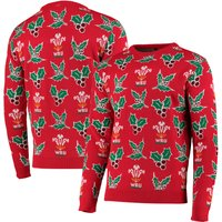 Welsh Rugby Christmas Jumper - Red - Adult