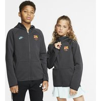 FC Barcelona Tech Fleece Essentials Older Kids' Full-Zip Hoodie - Grey
