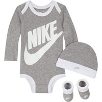 Nike Baby Bodysuit, Hat and Booties Set - Grey