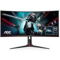 "AOC CU34G2X/BK Quad HD 34"" Curved VA Gaming Monitor - Black & Red, Black"