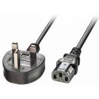 Lindy 20m UK 3 Pin Plug To IEC C13 Mains Power Cable, Black