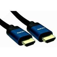 5m 8K HDMI 2.1 cable, Black braid, Blue metal hood