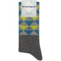 Burlington Mens Grey Innovative Modern Fashion Diamond Pattern Odd Cotton-Blend Socks