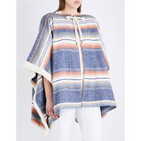 See By Chloe Ladies Blue Strip Bohemian Striped Fringed Canvas Poncho, Size: XS/S