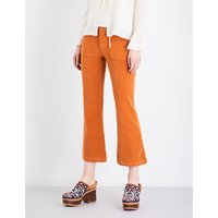 Cropped flared corduroy trousers