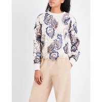 See By Chloe Ladies Blue Floral Bohemian Guipure-Lace And Knitted Sweater
