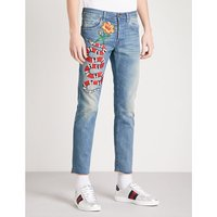 Snake-embroidered straight cropped jeans
