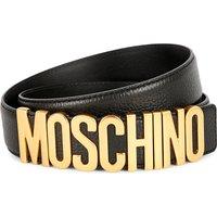Moschino Mens Black Iconic Leather Logo Belt, Size: 34