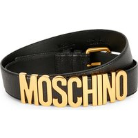 Leather buckle logo belt