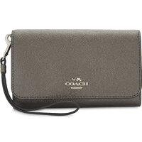 Metallic leather phone clutch bag