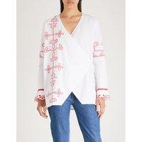 Peony cotton-poplin wrap blouse