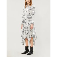 Ganni Ladies White and Black Floral-Print Blakeley Stretch Silk Shirt Dress