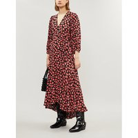 Ganni Red All-Over Pattern Lindale Crepe Dress
