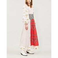 Ganni Ladies Pink, Red and White All-Over Patchwork Print Sweeny Cotton Poplin Midi Dress