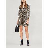 Ganni Black and Brown Leopard Print Leo Satin Dress