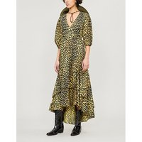 Ganni Ladies Minionyell Gold and Black Leopard-Print Bijou Cotton Dress