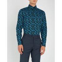Polka dot slim-fit cotton shirt
