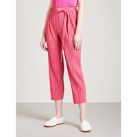 Self-tie tapered pleated trousers
