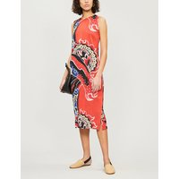 Flame-print pleated midi dress