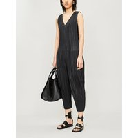 Sleeveless wide-leg pleated jumpsuit