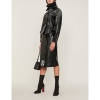 Croc-effect leather jacket
