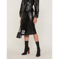 Croc-effect leather skirt