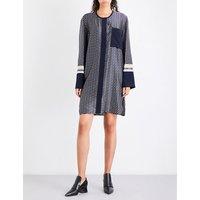 Geometric-print silk-twill dress