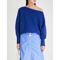 One-shoulder ribbed wool jumper