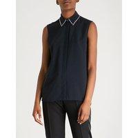 Crystal-embellished satin-crepe shirt