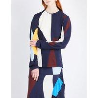Geometric-print woven top