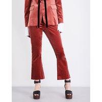 Le Velvet cropped flared velvet trousers
