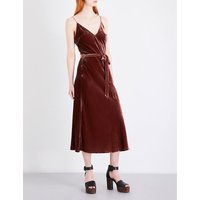 Belted knitted velvet dress