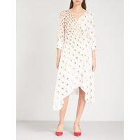 V-neck abstract-print silk-crepe wrap dress