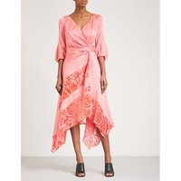 Flocked floral-jacquard satin wrap dress