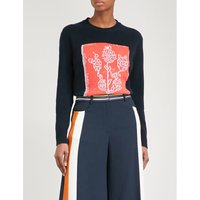 Floral-intarsia wool and cashmere-blend jumper