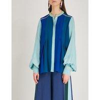 Contrast-panel silk shirt