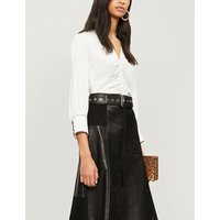 Ruched satin-crepe blouse