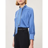 Neck-tie piped-trim satin blouse